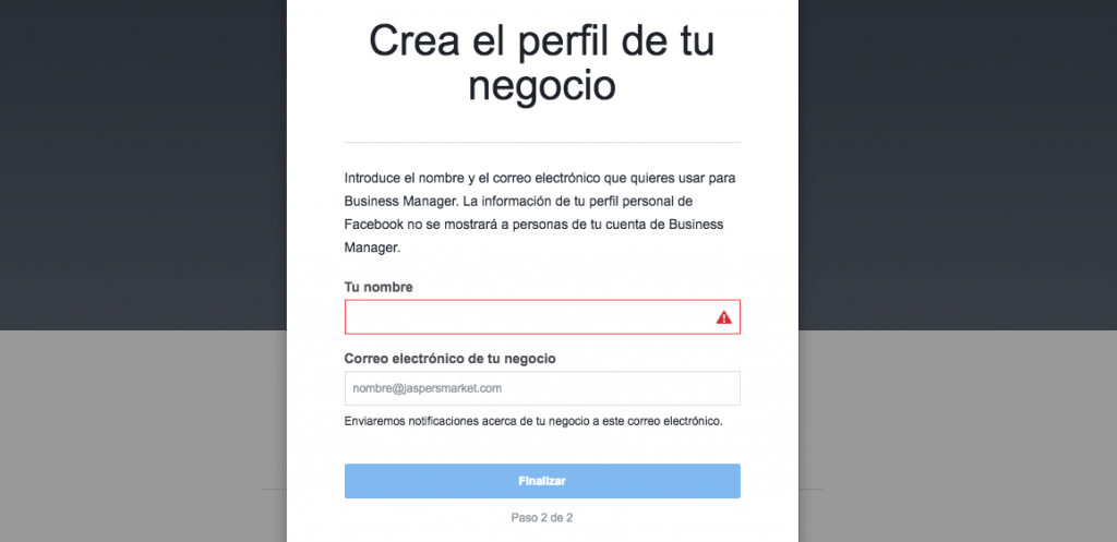 Crea tu perfil de negocio en Busines Manager - Wondermochi